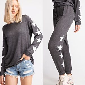 Charcoal Gray Top With White Stars